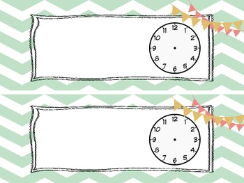 Daily Schedule Cards: Pale Green Chevron