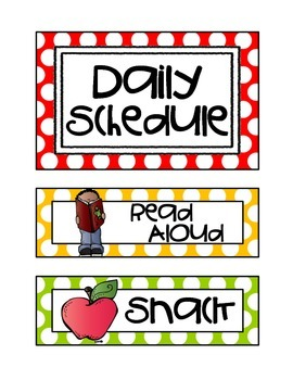 Daily Schedule Cards {Polka Dots}