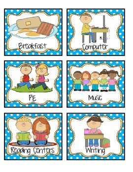Daily Schedule Cards - Polka Dots!