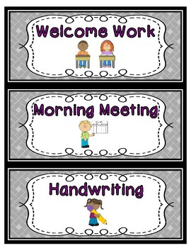 Daily Schedule Cards--Purple Font Color