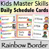 Visual Daily Schedule Cards Rainbow Border - Editable
