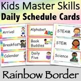 Visual Daily Schedule Cards Rainbow Border - Editable