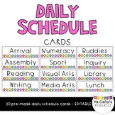 Daily Schedule Cards - Rainbow (Editable)
