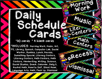 Rainbow Daily Schedule Cards