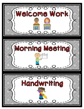 Daily Schedule Cards--Red Font Color