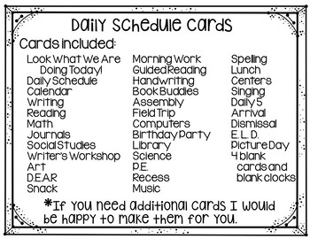 Daily Schedule Cards (School Theme)