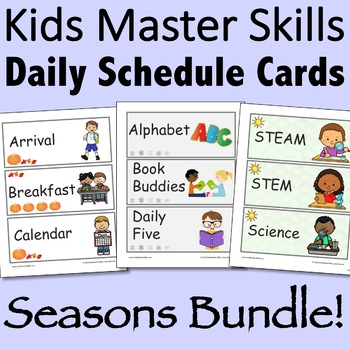 Visual Daily Schedule Cards - Seasons Bundle Editable