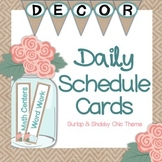 Daily Schedule Cards - Shabby Chic & Burlap Theme