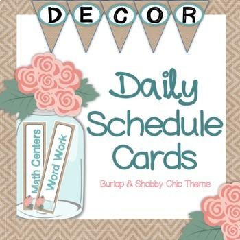Daily Schedule Cards - Shabby Chic & Burlap Theme {Editable}