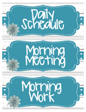 Daily Schedule Cards- Shiplap Inspired with White and Teal