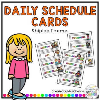 Daily Schedule Cards (Shiplap Theme) EDITABLE
