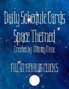 Daily Schedule Cards-Space Themed