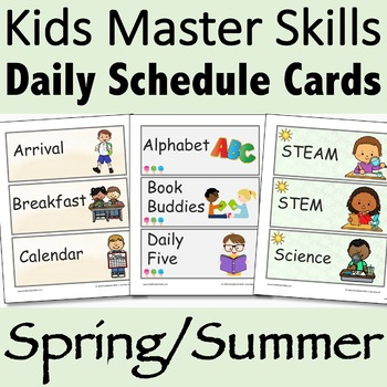 Visual Daily Schedule Cards Spring/Summer-Themed Editable
