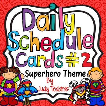 Daily Schedule Cards (Superhero Theme #2)