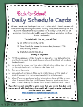 Daily Schedule Cards - To the Minute with Pictures