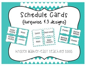 Daily Schedule Cards {Turquoise & 3 styles}