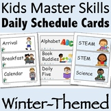 Visual Daily Schedule Cards Winter-Themed Editable