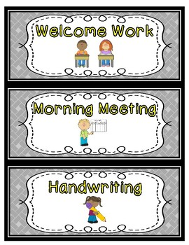 Daily Schedule Cards--Yellow Font Color
