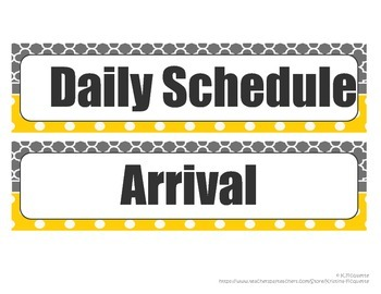 Daily Schedule Cards - Yellow and Gray (with & without Owls & Analog Clock))