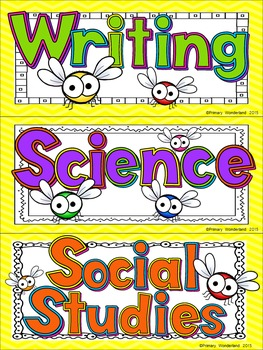 School Subject Daily Schedule Cards with Clocks Bug Theme