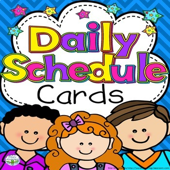 Daily Schedule Cards with Clocks Star Theme