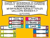 Daily Schedule Cards and Welcome Banner (Editable) Solid Background
