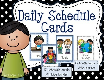 Daily Schedule Cards for PK-2- Blue Border Version