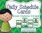 Daily Schedule Cards for PK-2--Green Chevron Background