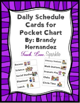Daily Schedule Cards for Pocket Chart