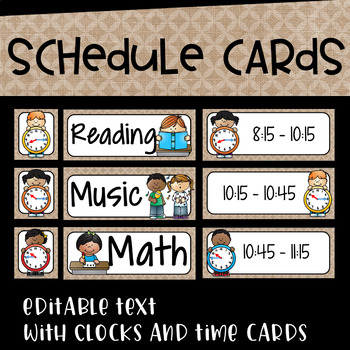 Daily Schedule Cards in Burlap and Black Series~Editable