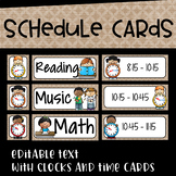 Daily Schedule Cards in Burlap and Black Series~Editable with Pictures