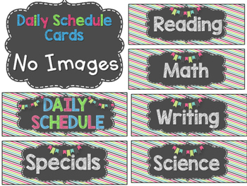 EDITABLE Daily Schedule Cards in Chalkboard, Turquoise, Lime Green, and Pink