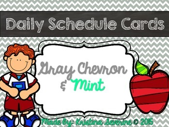 Daily Schedule Cards in Chevron Gray and Mint