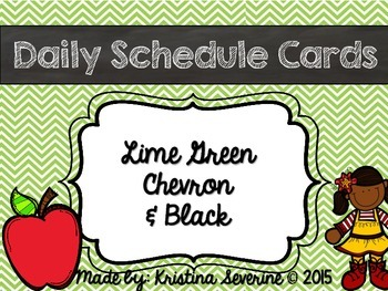 Daily Schedule Cards in Chevron Lime Green
