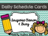 Daily Schedule Cards in Chevron Turquoise EDITABLE