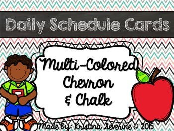 Daily Schedule Cards in Multi Colored Chevron and Chalk