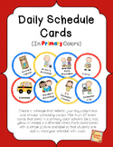 Daily Schedule Cards in Primary Colors
