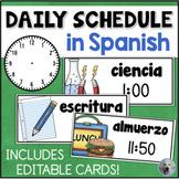 Daily Schedule Cards in SPANISH Tarjetas de Horario