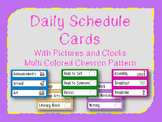 Daily Schedule Cards w/ Pictures Chevron Pattern