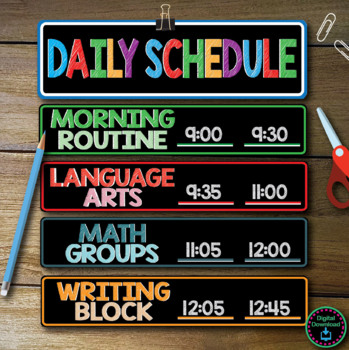 Daily Schedule Cards with editable time slot  - 31 areas included