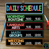 Daily Schedule Cards Editable Names & Times  - 32 colorful cards included
