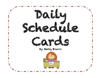 Daily Schedule Cards with Blank Time Clocks for Pocket Chart