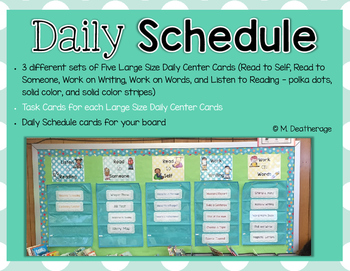 Daily Schedule Cards with Classroom Schedule, Daily Tasks,