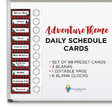 Daily Schedule Cards with Editable Blanks - Plaid Adventure Theme