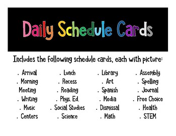 Daily Schedule Cards with Picture
