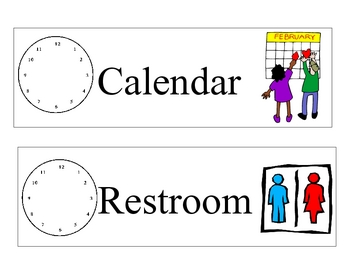 Daily Schedule Cards with clocks and pictures Pocket Chart