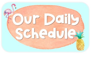 Daily Schedule Clip Chart: Tropical Watercolor Classroom Decor