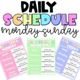 Daily Schedule Template EDITABLE, Every Day of the Week, M