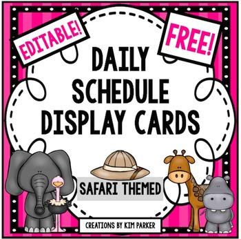Daily Schedule Display Cards- Safari Theme