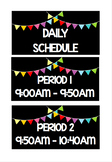 Daily Schedule Display: bunting theme - EDITABLE